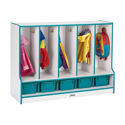 (KYDZ Rainbow 1 Tier 5-Section Coat Locker Accent Color: Blue)