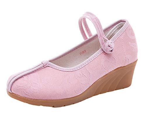 Occasionnels Style Jane Baskets Rose Chaussures Floral Icegrey Compensées Chinois Mary CqxFpwwR0