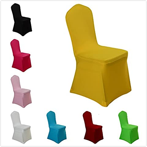 Spandex Dining Chair Cover Covers for Wedding Banquet (Yellow) (Yellow Room Chairs)