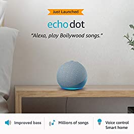 All-new Echo Dot (4th Gen) | Next generation smart speaker with improved bass and Alexa (Blue)