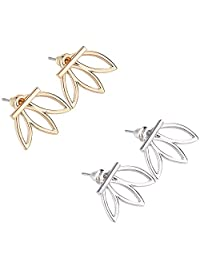2 pairs Lotus Flower Earrings Backs Jewelry Simple Chic Earrings (Gold & Silver) Cuffs Stud Earrings