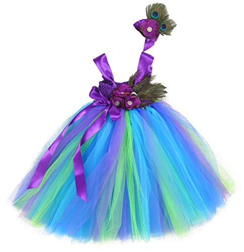 Tutu Dreams Peacock Mermaid Little Girls Dress with Headband Purple (M, Peacock)