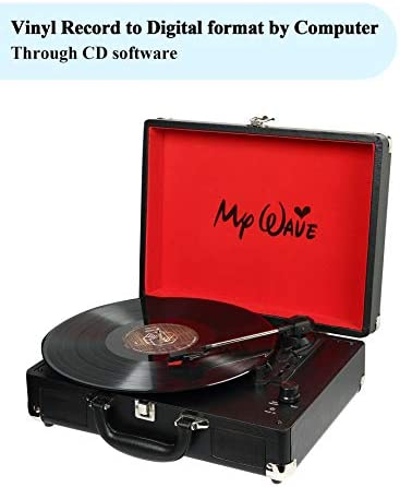 MyWave Turntable Portable Suitcase Record Player with Built-in Stereo Speakers,Vinyl-to-PC Recording,AUX in,RCA Out,Headphone Jack