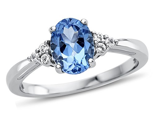 (Finejewelers 10k White Gold 8x6mm Oval Swiss Blue Topaz and White Topaz Ring Size)