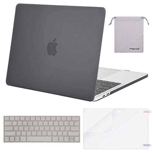 MOSISO MacBook Pro 13 Case 2018 2017 2016 Release A1989/A1706/A1708, Plastic Hard Shell & Keyboard Cover & Screen Protector & Storage Bag Compatible Newest Mac Pro 13 Inch, Gray
