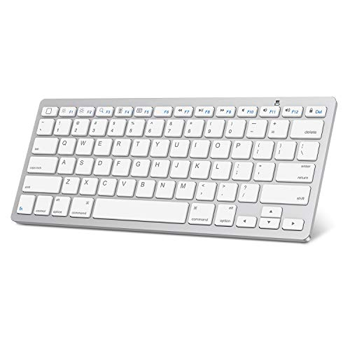 iPad Pro 11/12.9 Keyboard, OMOTON Universal Slim Portable Wireless Bluetooth Keyboard with Function Keys Design for iPad Pro 12.9/11 / 10.5/9.7, iPad Mini and iPhone, White