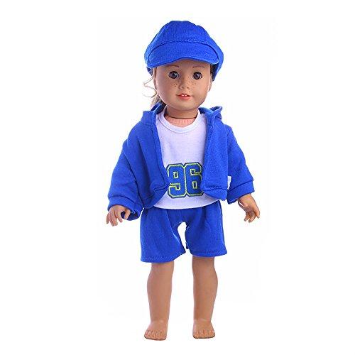 AMOFINY 4PC New Hat + T-shirt + Coat + Pants DIY Doll Girl &Boy Doll For 18 Inch (Dark Blue)