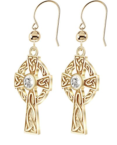 Sapphire Celtic Cross - US Jewels And Gems New 14K Yellow Gold Genuine White Sapphire Birthstone Irish Celtic Knot Cross Earrings