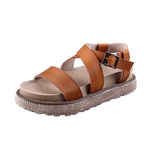 OCHENTA Sandalias de verano Roma cerrojo zapatos corteza gruesa del mollete camello