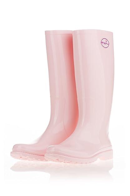 botte caoutchouc rose femme