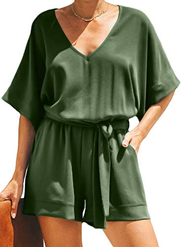 - Dokotoo Womens Summer Casual Loose Ladies Fashion Solid Short Sleeve V Neck Wasit Belted Tie Pocketed Plain Rompers Short Jumpsuits Playsuits Army Green Small