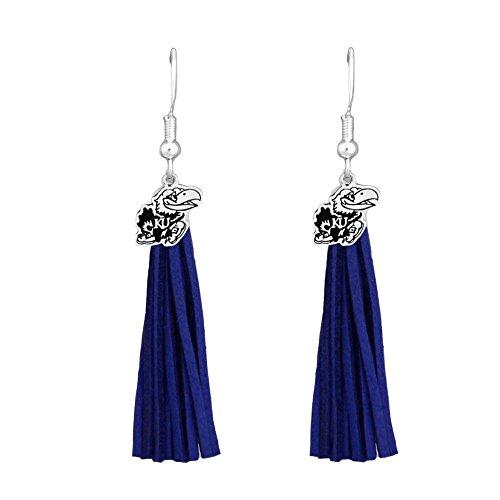 - Kansas Jayhawks Blue Leather Tassel Silver Charm Earring Jewelry Gift KU