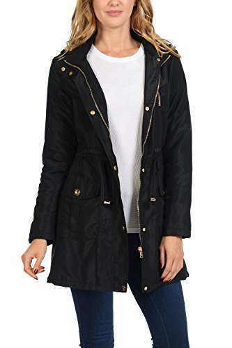 - Auliné Collection Women's Satin Faux Fur Lined Hoodie Long Coat Anorak Jacket Black Small