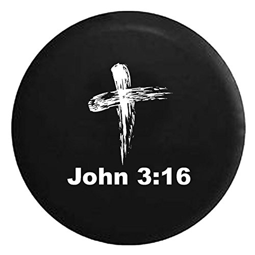 John 3:16 Bible Verse God Cross Spare Jeep Wrangler Camper SUV Tire Cover White Ink 32 in ()