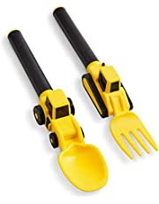 Dinneractive Utensil Set for Kids – Construction Themed Fork and Spoon for Toddlers and Young Children – 2-Piece Set - Yellow