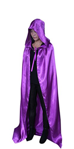 Satin Witch Costume (ICSTH Womens Witch Costume Satin Cape Holloween Party Costume Cloak)