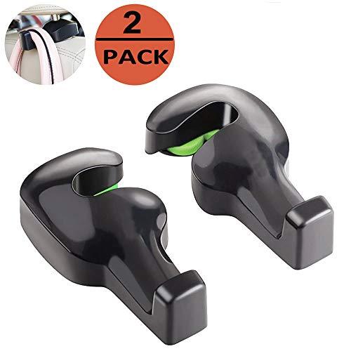 EldHus Blk Universal Car Back Seat Headrest Hanger Holder Hook for Bag Purse Cloth Grocery 2PC - Monitor Car Holder For