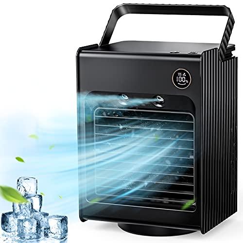 Portable Air Conditioner Fan, Personal Air Cooler Desk Fan Mini Evaporative Cooler Fan with Handle, 120°Auto Oscillation…