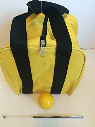 Unique Bocce Accessories Package - Extra Heavy Duty Nylon Bocce Bag (Yellow with Black Handles), Yellow pallina, Extendable Measuring Device by BuyBocceBalls