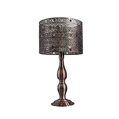 Metal Table Lamps,Baroque Industrial Style Vintage Copper Table Lamps,Tootoo Star Unique Metal Shade Desk Lamps for Designer Bedroom Lamps for Nightstand Office Living Room