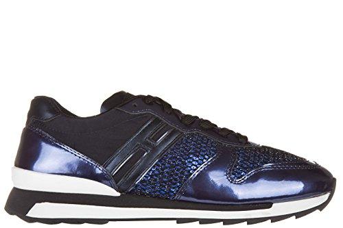 Hogan Rebel chaussures baskets sneakers femme en cuir r261 allacciato blu