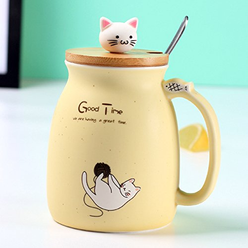 New sesame cat heat-resistant cup color cartoon with lid cup kitten milk coffee ceramic mug children cup office gifts (Yellow)