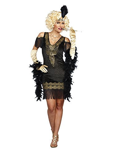 Dreamgirl Women's Swanky Flapper, Black/Gold, XL ()