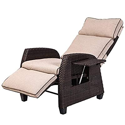 LCH Adjustable Recliner Relaxing Sofa Chair Outdoor Wicker Furniture Aluminum Frame Lounge with Beige Soft Thicken Cushions | Porch, Backyard, Pool or Garden - ♥ Relax your body on this zero gravity recliner chair with stress-less cushions, adjustable legs & back (160° range) ♥ Sturdy powder coated aluminum frame features durable and rustproof. Max weight capacity 330 lbs (150 kg) ♥ Water proof cushion with zippered cover, quality synthetic wicker features 3000 hrs UV resistant - patio-furniture, patio-chairs, patio - 41JfG1ToDqL. SS400  -