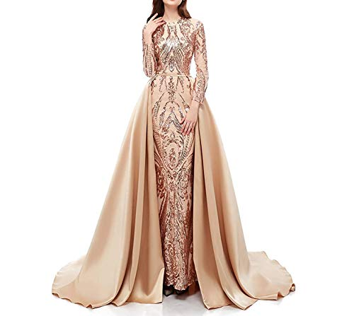 Aries Tuttle Champagne Sequined Satin Mermaid Prom Evening Party Dress Celebrity Pageant Gown Detachable Train