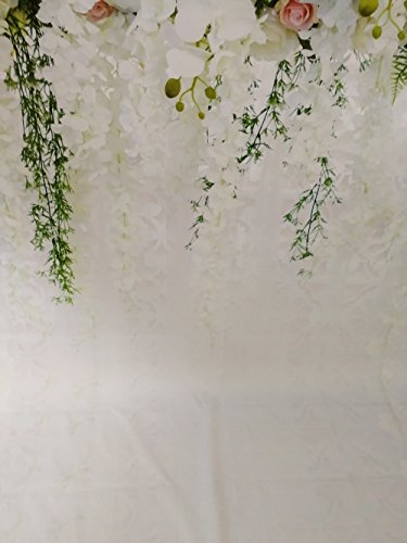 HUAYI 10x8ft White Flower Backdrop Curtain Floral 3d flower Wedding Party Background Photo Backdrop for wedding reception Baby shower Photo Booth Props Xt-6749 by HUAYI (Image #3)