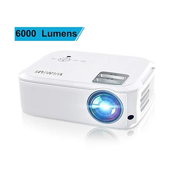 WiMiUS 6000 Lumens Projector Native 1080P White and Black