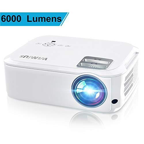 Projector, WiMiUS P21 6500 Lumens Video Projector Native 1920×1080 LED Projector Support 4K Zoom 300″ Display 100,000H Lamp Compatible with Fire TV Stick Laptop Phone Xbox PS4 Power Point Presentation