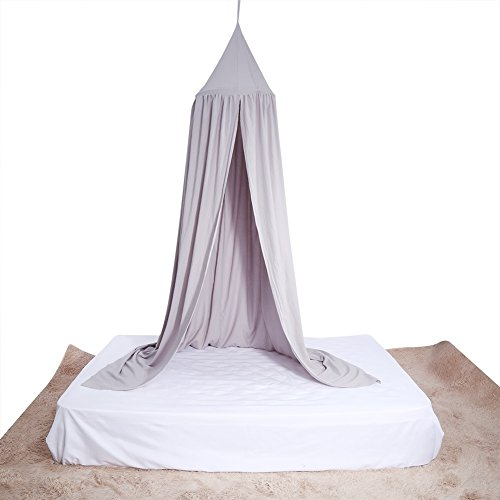 Yosoo Baby Bedding Round Dome Bed Canopy Kids Play Tent Hanging Mosquito Net Curtain for Baby Kids Reading Playing Sleeping Room Decoration, Gray