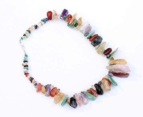 Brazilian Chakra Crystal Necklace Multi Stone Chunk Statement Raw Natural Large -