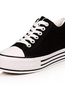 moda-Zapatillas mujer Sneakers deportivo Casual-/ --- cerrada plano de cuerda-negro/azul/rojo/blanco/Verde: Amazon.es: Deportes y aire libre