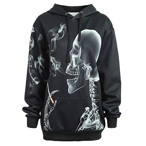 iDWZA Women's Drawstring Halloween Horrific Skull Kangaroo Pocket Hoodie Tops(XL,Black) -