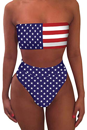Misassy Womens Sexy High Waisted Bikini 2 Piece Bandeau Swimsuit Top Cheeky Bottoms Set (Small
