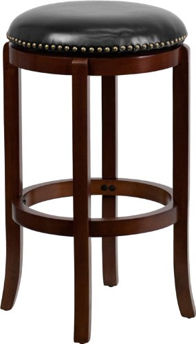 Backless Cherry Wood Barstool with Black Leather Swivel Seat