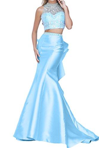 La_mia Braut Luxurioes Steine Meerjungfrau Abendkleider Partykleider Celebritykleider in Navy Blau Hell Blau-32 Hell Blau