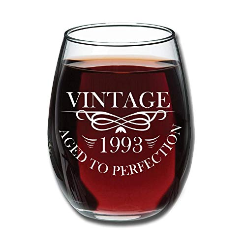 1993 25th Birthday Gifts for Women and Men Wine Glass - Funny Vintage Anniversary Gift Ideas for Mom, Dad, Husband or Wife - 15 oz Glasses for Red or White Wine - Party Decorations for Him or Her -