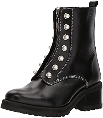 gran surtido venta minorista belleza Steve Madden Women's Granite Combat Boot, Black Leather, 6.5 M US ...