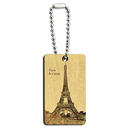 Paris, Je T'Aime I Love You Eiffel Tower City Map Wood Wooden Rectangle Keychain Key Ring