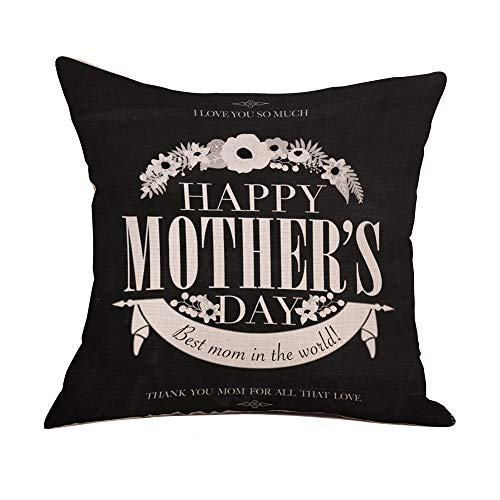 Littay Pillowcase 18inch x 18inch,Happy Mother's Day Sofa Bed Home Decoration Festival Pillow Case Cushion Cover