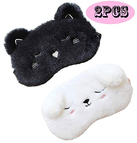 2 Pack Cute Animal Sleep Mask for Girls Cute Cartoon Cat Dog Soft Plush Blindfold Sleep Masks Eye Cover for Women Girls Travel Nap Night Sleeping