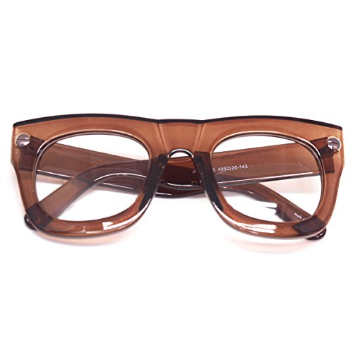 Vintage Inspired Geek Oversized Square Thick Horn Rimmed Eyeglasses Clear Lens (BROWN E5580, - Thick Eyeglasses Frame