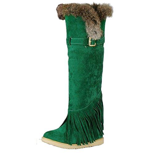 Kniehohe synthetischer Damen Grün Keilabsatz Nonbrand Stiefel nwvCS6qwRx