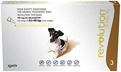 Revolution Flea Treatment Drop for Small Dog, 3 Count, Brown