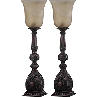Safavieh Lighting Collection Dion Arifact Antique Wihte Shade And Oil-Rubbed Bronze 27.5-inch Table Lamp (Set of 2)