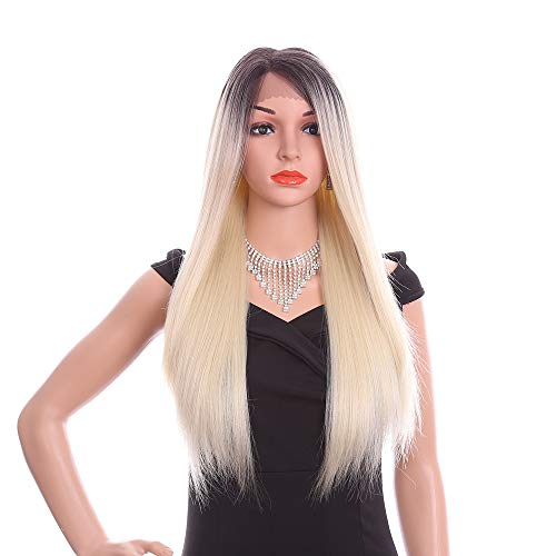 (Lace Front Wigs Synthetic for Women, 26 Inch Silky Straight Long Hair For Cosplay Halloween Costume(Bleach,Dark)