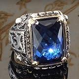 Fxbar Vintage Luxurious Zircon Rings Charm Blue